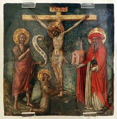 Maestro di Staffolo - Crocifisso tra i SS. Giovanni Battista, Francesco e Girolamo - 1420-50 ca. - Pinacoteca di Ravenna