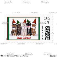 """Meowy Christmas!"" Cats with hats on custom Postage Stamps."