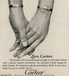 """A Cartier Ad for their Love Bracelets🔍"" Bracelet Love, Love Bracelets, Cartier Love Bracelet, Charm Bracelets, Bangles, Jewelry Ads, Cartier Jewelry, Vintage Jewelry, Bullet Jewelry"