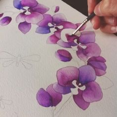 """My sister and I are both in the design industry and we look forward to the color of the year announcement every year! Color is my favorite part of painting. I spend a lot of time mixing my watercolors or acrylics to get the perfect tone. Painting & Drawing, Silk Painting, Watercolour Painting, Watercolor Flowers, Watercolors, Orchids Painting, Art Floral, Motif Floral, Watercolour Tutorials"
