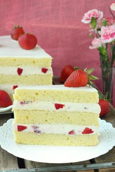 Strawberry shortcake cake -- buttery pound cake with cream cheese/strawberry filling