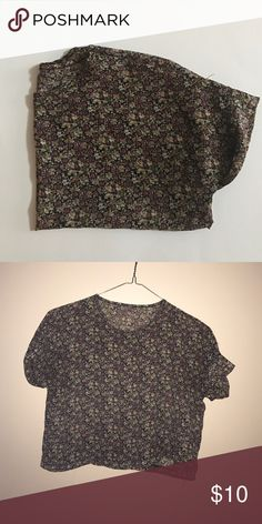 Floral Sheer Crop Top Gently worn, good condition. No branding. Size Small. Sheer material. Looser fit. Cuffed sleeves. Brand for exposure Forever 21 Tops Crop Tops