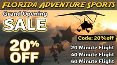 20% OFF ANY 20 - 40 - 60 MINUTE FLIGHT! Use code: 20%off See Amelia Island, Jacksonville Beach, Cumberland Island from above! ------------------ ‪#‎florida‬ ‪#‎adventure‬ ‪#‎sports‬