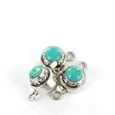 CARICO LAKE TURQUOISE CLASP STERLING ROUND 6mm from New World Gems