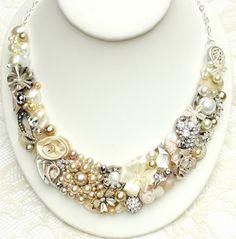 Bridal Bib Necklace Cream Beige Ivory Champagne Statement