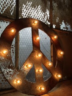 Peace sign lighted metal marble rust by WestVintageTradingCo