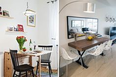 A tiny apartment is no excuse to have meals on the floor. So get up on your feet and create a chic dining area