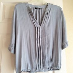 A.N.A. Blouse Blue gray blouse banded at waist. Size medium. a.n.a Tops Blouses