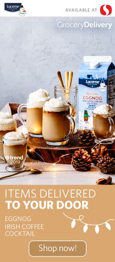 Try our exclusive Lucerne® eggnog as the perfect base for this comforting Eggnog Irish Coffee Cocktail! Whip up this cocktail at your next holiday gathering or enjoy it to warm up chilly winter evenings at home. Shop Vons in-store or online through Instac Irish Coffee, Kefir, Healthy Hearty Breakfast, Coffee Milkshake, Eggnog Recipe, Summer Rolls, Holiday Essentials, Coffee Cocktails, Margarita Recipes