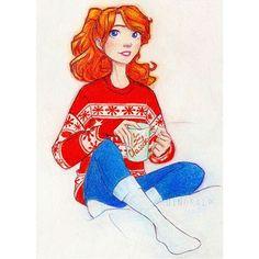 Набор хэштегов- новогодняя Василиса:) #Часодеи #Василиса #dinoralp #watercolorpencils #artistsoninstagram #art #redhair #cozy