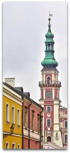 Zamosc market place on a rainy day. Zamosc is a charming and amazing renaissance style city in southeastern Poland
