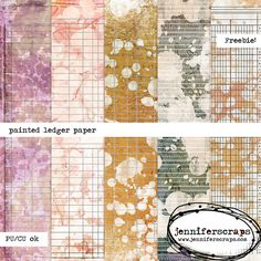 "Painted Ledger papers - Free digital paper pack ✿ Join 7,600 others. Follow the Free Digital Scrapbook board for daily freebies. Visit GrannyEnchanted.Com for thousands of digital scrapbook freebies. ✿ ""Free Digital Scrapbook Board"" URL: https://www.pinterest.com/sherylcsjohnson/free-digital-scrapbook/"