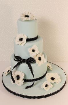 Blue Anemone Wedding Cake