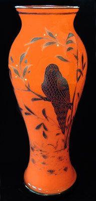 Orange and Black Decorated Tango Glass Vase Orange Brown, Orange Color, Color Black, Orange House, Orange You Glad, Glass Vessel, Antique Shops, Plan Your Trip, Glass Design
