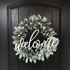 Welcome Wreath / Lambs Ear / Front Door Wreath - rustic farmhouse front door Front Door Signs, Front Door Decor, Wreaths For Front Door, Front Doors, Front Porch, Door Reefs, Year Round Wreath, Welcome Wreath, Diy Wreath