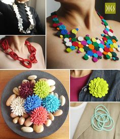 Digs Butterfly Necklace, Felt Anemone Necklace, Cadena Chain Necklace, Chrysanthemum, Loop and Dahlia Felt Brooches all featured on Green&Gorgeous website.