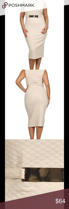 Solid quilted sleeveless midi dress Material : 95%POLYESTER 5%SPANDEX Origin : United States Description : Solid quilted sleeveless midi dress Dresses Midi