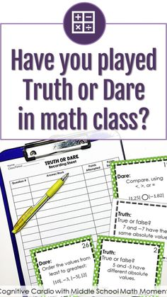 Fun Math, Math Games, Math Activities, Maths, Gifted Education, Special Education, Truth Or Dare Games, Math Intervention, 8th Grade Math