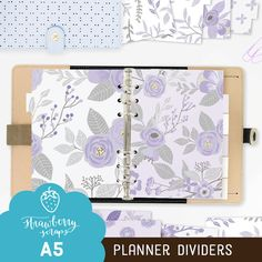 Floral planner dividers: LAVENDER FLOWERS A5 by StrawberryScraps