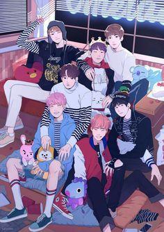 BTS FANARTS - Fanarts made for all the Armys we love BTS ♥ # Random # amreading # books # wattpad - Bts Chibi, Bts Bangtan Boy, Bts Jimin, Fanart Kpop, Bts Art, Bts Fan Art, Bts Anime, K Wallpaper, Kpop Drawings