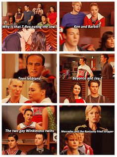 Glee couples My Favorite Are The Teen Lesbians♡ Also The Two Gay Winklevoss Twins and Ken and Barbie