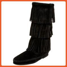 Minnetonka Women's  3-Layer Fringe Boot,Black,8 M US - Boots for women (*Amazon Partner-Link)