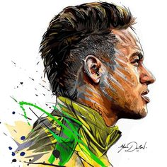 My painting of the famous Neymar Jr and his arrival in the PSG. My painting of the famous Ney. Football Images, Football Art, Neymar Barcelona, Soccer Drawing, Time Do Brasil, Lionel Messi Wallpapers, Ronaldo Wallpapers, Neymar Psg, Portrait Vector