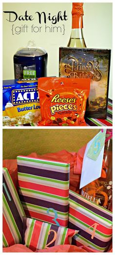 The Domestic Geek: Date Night {a gift for him}  Excuse you? For him? If I am not mistaken, that looks like a perfectly fabulous date night that I would be happy to accompany you on. Screw fancy restaurants and heels and dresses, let's just eat some chocolate in our sweatpants while watching Die Hard in peace.