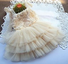 Ivory Sparkle Rosette Tutu Dress Baby Toddler by InfantileShop