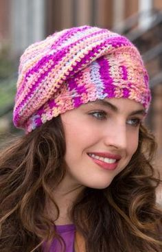 Colourful Slouchy Hat Free Crochet Pattern from Red Heart Yarns