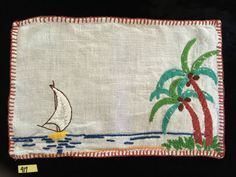 SOLD/Vintage Doily Hand Embroidered Sailboat Palm Trees Ocean Beach Tray Table 15x10