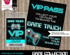 Instant Download Printable Video Game Party VIP by ArtfulMonkeys