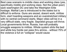 Best case scenario is middle class and working class (yes, specifically middle and working class. Not the urban poor) sack washington DC and lake the Washigton Elite hostage. Martial Law is introduced to lhe slates but is difficult to enforce. Guns are siezed, doesnt work, militias form, start hoa... #school #memes #shitposting #dankmeme #offensives #ipolitics #cringe #best #case #scenario #middle #class #working #specically #not #urban #washington #dc #lake #washigton #elite #hostage #meme Funny School Memes, School Humor, Working Class, The Middle, Cringe, Popular Memes, Washington Dc, Martial, Law