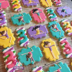 gymnastic birthday cookies Gymnastics Birthday Cakes, Gymnastics Party, 3rd Birthday Cakes, Girl Birthday Themes, Birthday Cookies, Birthday Ideas, Fancy Cookies, Cute Cookies, Royal Icing Cookies