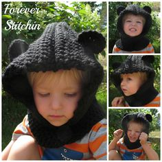Fresh off my #ForeverStitchin hook: custom order for an adorable #bear #hooded #cowl! #crochet #handmade #mmmakers #thevelvetacorn