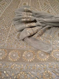 Discover thousands of images about Grey Gota Patti Chikankari Anarkali Indian Designer Suits, Indian Suits, Indian Attire, Indian Wear, Gota Patti Suits, Gota Patti Saree, Pakistani Wedding Outfits, Pakistani Dresses, Chicken Kari Suits