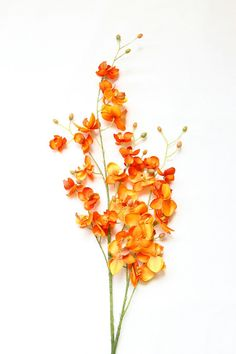 Mini Silk Orchids on a Stem in Orange Phalaenopsis by simplyserra. Contact for pricing.