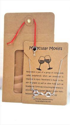 Resveratrol Wine Moonshine Alcohol Ethanol Whiskey Molecule Science Chemistry Symbol Gift Necklace by MolecularMotifs on Etsy