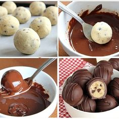 Chocolate chip cookie dough covered in chocolate 😍 Tasty Chocolate Chip Cookies, Cookie Dough Truffles, Chocolate Chip Cookie Dough, Chocolate Diy, Chocolate Covered, Cookie Recipes, Dessert Recipes, Kaja, Sweet And Salty
