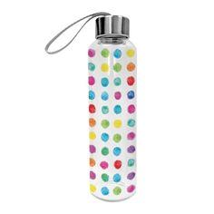 Aquarell Dots Glass Bottle 550 ml #ppd #paperproductsdesign #glassbottle #bottle #glasflasche #trinkflasche #aquarell #dots #punkte #drink #getränk #erfrischung #colors #colorful #bunt #drinkwater #water #2go #togo #travel #reisen #waterbottle #bottle #healthy #gesund #sport #forsports