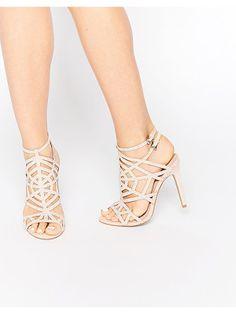 50e58b14ddfa1 Faith Little nude embellished caged heeled sandals Tacones