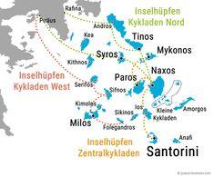 Inselhopping Griechenland Kykladen Karte Route Skiathos, Paros, Mykonos, Zakynthos, Der Bus, Greece Vacation, Travel, Europe, Greek Isles