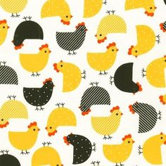 LAMINATED cotton fabric yardage - Mother Hen chicken on white Urban Zoologie Anne Kelle (aka slicker, oilcloth, coated) BPA free WIDE