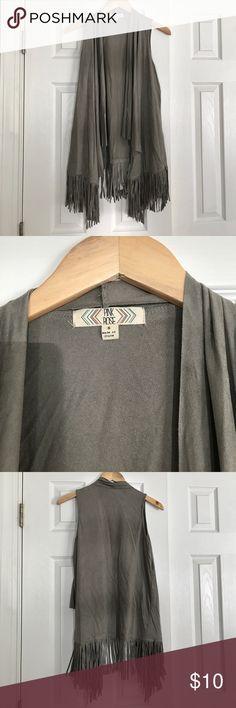 Grey Fringe Vest Great condition faux suede vest from TJ Maxx! Pink Rose Jackets & Coats Vests