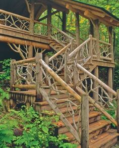 Organic log railings work well with vertical siding...