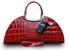 Made in Italy Luxus Damen Clutch Henkeltasche Echt Leder Kroko Prägung Rot - http://herrentaschenkaufen.de/my-musthave/made-in-italy-luxus-damen-clutch-henkeltasche-rot