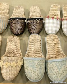 Embellished Slippers - Decorated with a dazzling combination of fabric, ribbons, sequins, and beads, store-bought slippers offer a wonderful way to welcome houseguests and make lovely gifts for virtually any occasion.