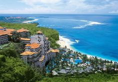 An aerial view of Nikko Hotel Bali in Nusa Dua. Photo courtesy of Nikko Hotel Bali. Bali Indonesia Resorts, Bali Beach Resorts, Bali Spa, Luxury Resorts, Best Honeymoon Destinations, Amazing Destinations, Bali Honeymoon, Travel Destinations, Honeymoon Places