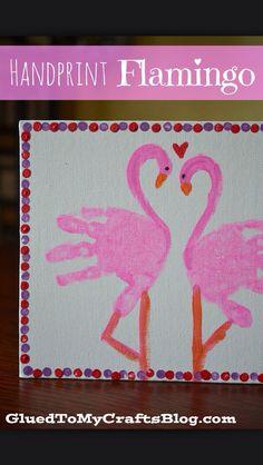 Flamingo handprints