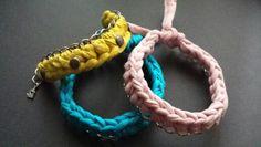 Pulseras de trapillo con cadena echas a crochet artesanalmente....¡¡¡¡